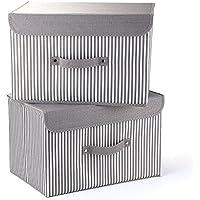 Cajas de almacenamiento mee'life Juego de 2 cestos de tela plegables gris