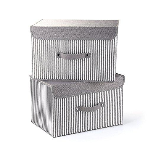 Mee'life cesti per la conservazione, set di due contenitori di immagazzinaggio pieghevoli con coperchi e manici cestello portaoggetti contenitori per organizer cassetto in tessuto di cotone (castano)
