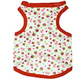Aeici Hundebekleidung Baumwolle Voll Bedruckte Strawberry Cute Pet Vest Summer Dress M