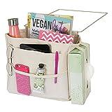 mDesign sac de chevet à accrocher – poche de lit spacieuse en coton – avec 3 poches – sac de rangement pratique pour la bouteille d'eau, télécommande, tablette, montre ou autres – beige