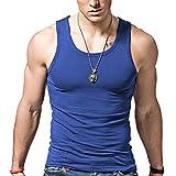 xdian Herren Tank Top Sport Gym Slim Fit Stretch Casual Baumwolle ärmelloses T-Shirt XL blau