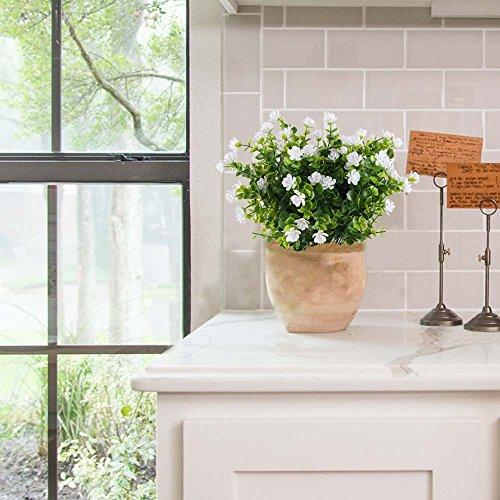 MIHOUNION HUAESIN 4 Pcs plastikblumen eukalyptus künstlich künstliche grünpflanze Blumen Kunststoff unechte Pflanze kunstblumen Busch Weiss für Topf Balkon außen Garten