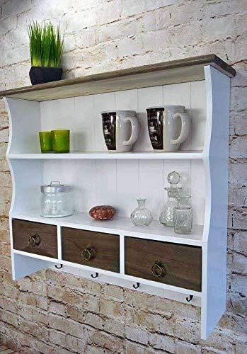 Livitat® Küchenregal Wandregal 60 x 67 cm Regal Wandschrank Hängeregal Weiß Holz Shabby Vintage Retro LV1066