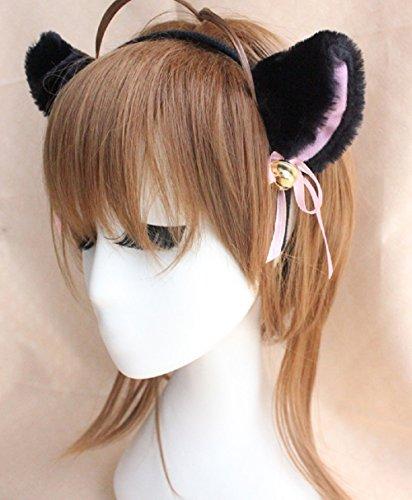 WOSON Harajuku Maid Cosplay Kopfschmuck Glocke Katze Ohr Haarnadel Band Sweet Lolita Mädchen Stirnband (Schwarz) (Nette Katze Ohren Kostüme)