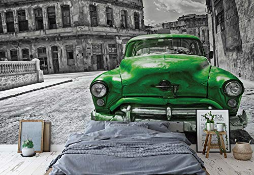Wallsticker Warehouse Oldtimer Kuba Havana Grün Vlies Fototapete Fotomural - Wandbild - Tapete - 254cm x 184cm / 2 Teilig - Gedrückt auf 130gsm Vlies - 1180V4 - Autos & Transport