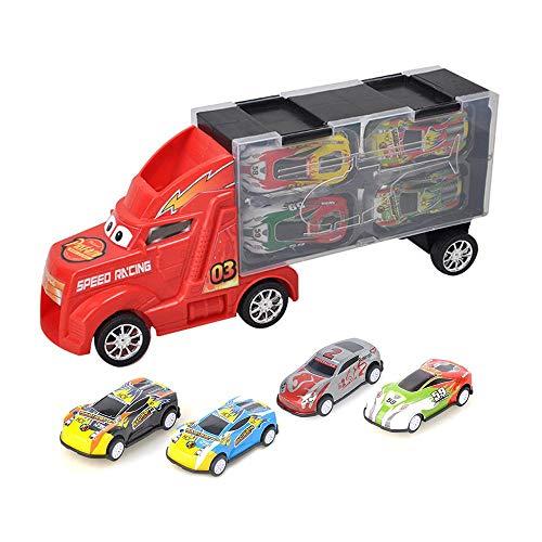AOLVO Auto Carrier Truck Spielzeug Set, Pull Back Car Container Storage Box enthält 4 Metall Spielzeug Autos und Zubehör mit Tragetasche, ideales Geschenk für Jungen und Mädchen rot (Storage Box Spielzeug)