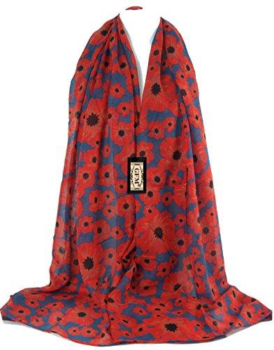 GFM Magnifique écharpe Imprimé fleurs de pavot Grande taille -  noir - Large PPYSCF-55-GHNL-01