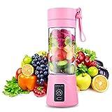 QYC Mini Batidora Portátil, Licuadora para Fruta, Recargable Juice Blender con USB, Centrífuga Licuadora con Contenedor de Jugo para Smoothies, Zumos de Fruta y Verdura, Milkshake (Rosa)