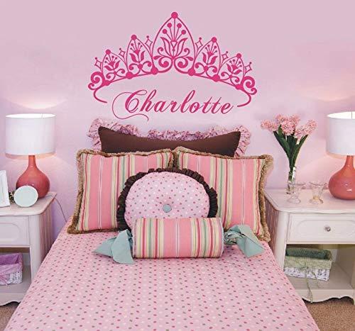 WWYJN Baby Girl Crown Vinyl Art Wall Sticker Princess Personalized Nursery Custom Girls Name Art Bedroom Decorative Decal42x64cm