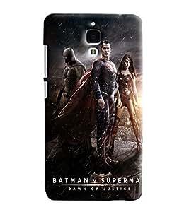 Blue Throat Three Super Heros Batman Super Man Printed Designer Back Cover/ Case For Xiaomi Mi4