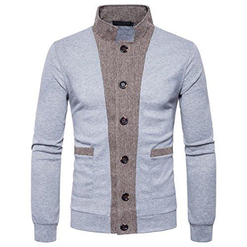 Jacke Mantel Outwear,Herren Herbst Winter Patchwork Stand Neck Sweatshirt Tops Bluse (2XL, Grau) (Mens Anzug Wolle Grau)