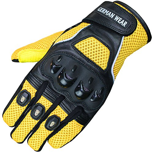 German Wear Motocross Motorradhandschuhe Biker Handschuhe Textilhandschuhe 6x Farben, Größe:10=XL, Farbe:Gelb