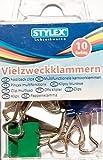 STYLEX® 10 Vielzweckklammern in Box / Foldbackklammern in 5 verschiedenen Farben - 19 mm breit