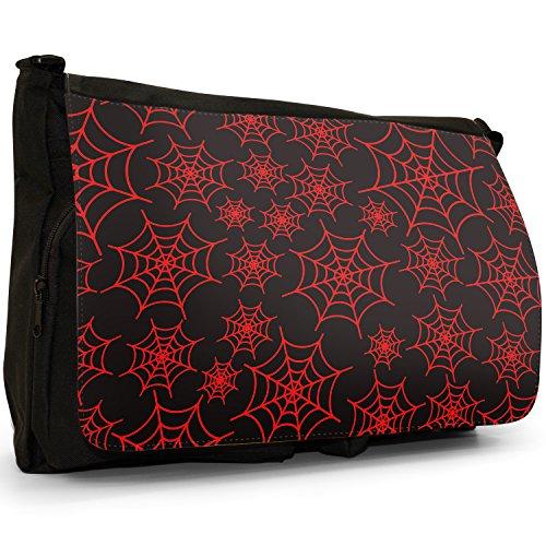 Spider web, taglia da puledro, colore: nero, Borsa Messenger-Borsa a tracolla in tela, borsa per Laptop, scuola Red Spider Cobwebs