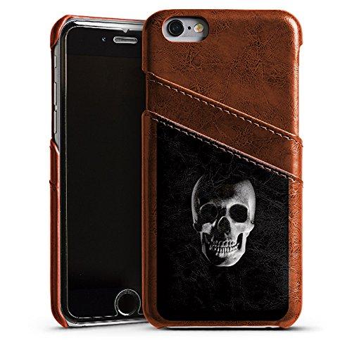 Apple iPhone 5s Housse Étui Protection Coque Crâne Crâne Pirates Étui en cuir marron