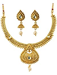 Jewels Galaxy Artistic Design Gold Plated Traditional Necklace Set With Earrings For Women/Girls
