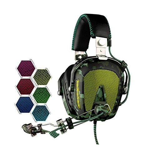 Sades A907.1USB Surround Sound PC Stereo Gaming Kopfhörer Pilot Professionelle Headsets mit Ausziehbares Mikrofon Lautstärkeregler Noise Reduction Sechs Farben Atmung Lichter für Computer Laptop -