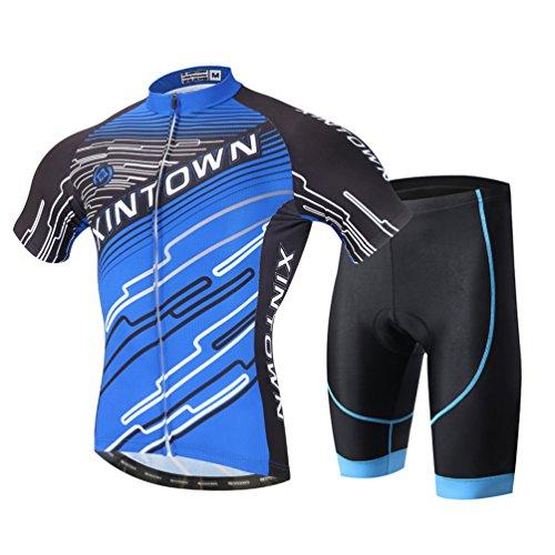 YOUJIA Männer Radfahren Kleidung Set Fahrrad Anzug Outdoor Kurzarmtrikot + Hose Atmungsaktiv Schnell Trocken (Blau #1, XL)
