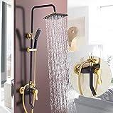 Antiquität Schwarz Duschset Wandtyp Alle Kupfer Badewanne Wasserhahn