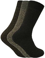 Homme 3 paires larges sans élastique chaudes laine thermiques bottes chaussettes en 4 colours