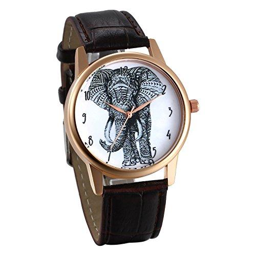 JewelryWe Reloj de Mujer Analogico Correa de Cuero Marrón Reloj de Pulsera de Elefante Estilo Retro Vintage, Diseño Original Buen Regalo para Mujeres