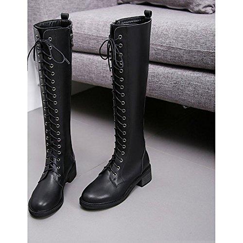 Hsxz Femmes Chaussures Pu Hiver Combat Bottes Bottes Chunky Talon Bout Rond Genou Bottes Pour Noir Casual Noir