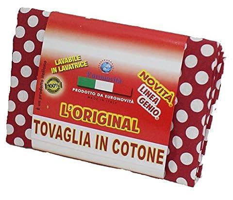 Nappe Cuisine Coton Rouge Pois Blanc 140x 180rectangulaire 100% coton, fabriqué en Italie, cm