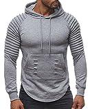 Herren Hoodie Biker Ripped Pullover Kapuze Long Sweat Shirt H2107, Farben:Grau, Größe Pullover:S
