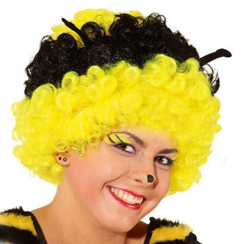 Perücke Biene, schwarz/gelb mit Fühler