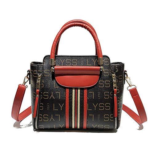 KAIDILA Crossbody Taschen Handtaschen für Frauen Patent Elegante große Kapazität Einfachheit PU Leder Damen Umhängetasche Fashion Tote Lässige & Arbeit, Rot Schwarz und Pink. - Designer-medium-tote -