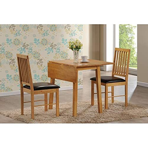 Palma Dining Set with 2 Chairs, Rubberwood with Oak Finish