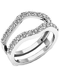 1,60quilates (de quilate) 14K oro redondo circonita señorías boda Enhancer Guardia doble anillo