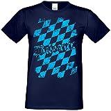 Bayrisches Motiv T-Shirt Männer :+: Herren Shirt Bayern Raute Bavaria Volksfest Oktoberfest :+: Übergrößen bis 5XL Farbe: Navy-blau Gr: S