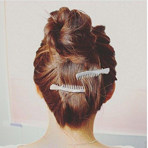 Tefamore Horquilla Mujeres Accesorios Pinza para el cabello Headpiece(Tijeras y estilo de peine) (2PC peine, plata)