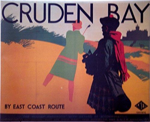 British Rail Cruden Bay mit Piper gerahmtes Poster (Gerahmt Rail)