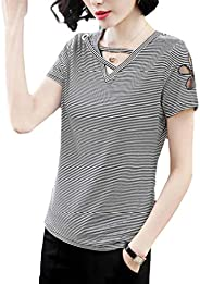 Fashring Women's Short Sleeve Cut Out Slim Fit Summer Tee Top Bl
