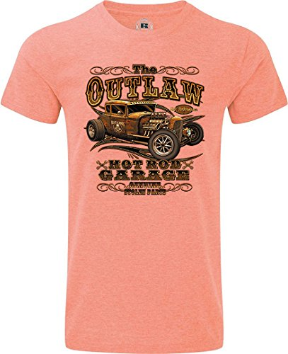 T-Shirt bedruckt Hot Rod Rockabilli Custom Orange