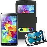 First2savvv PT-S5-D11 Dual windows Wallet Magnet Design Flip Case Cover for Samsung Galaxy S5 (BLACK)