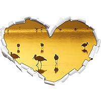 Pelikan sciame a forma di cuore acqua nel formato sguardo, parete o adesivo porta 3D: 62x43.5cm, autoadesivi della parete, decalcomanie della parete, decorazione della parete