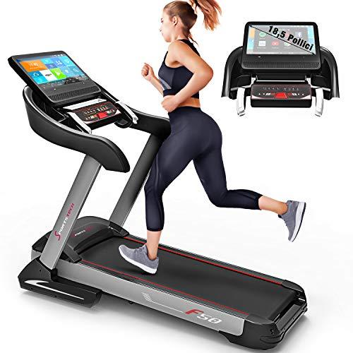 Sportstech Tapis Roulant F50 Professionale. Schermo LCD 18,5' Touchscreen. Fino a 18km/h, Supporto Tablet, USB, WiFi, Sistema di autolubrificazione, inclinazione Fino a 15% Compatto e Ripiegabile