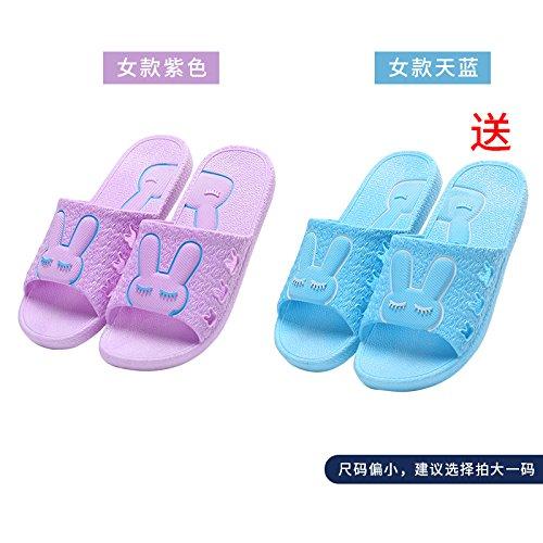 DogHaccd pantofole,Il bagno pantofole donne indoor estate anti-slip da bagno soggiorno di casa con un paio di pantofole fresca estate maschio Blu porpora3