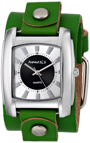 Nemesis Men's GVGB049SL Sunshine Collection Black on Green Leather Band Watch