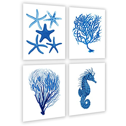 Gnosis Picture Archive Blue Beach Wandtattoo Decor Set von 4 Sea gerahmt Korallen Seepferdchen Seestern Strand Badezimmer Art Prints -