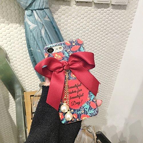 GHC Cases & Covers, Blumenmuster und Bowknot Voller Abdeckung Weicher schützender rückseitiger Abdeckungs-Fall mit Perlen-Anhänger, für iPhone 6 u. 6s ( Size : Ip6g1346b )