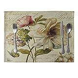 display08 Vintage Blumenmuster Tischset Leinen Tischset Tischset Home Esstisch Dekor 13#