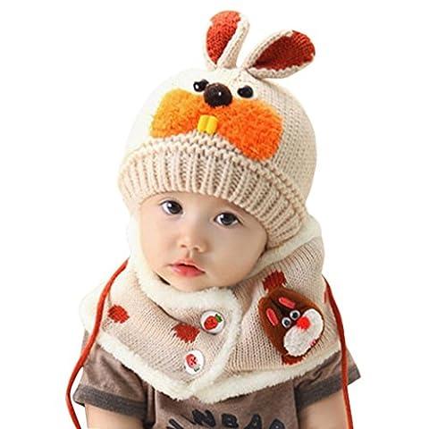 Bluestercool Echarpe bébé Caps, Garçons Filles Lapin dents Scarf + Enfant Chapeaux (0-5T, Beige)