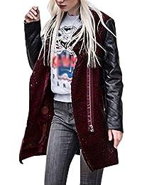 LuckyGirls ❤️• •❤️ Chaqueta de la señora de la cremallera de cuero chaqueta abrigo chaqueta de invierno chaqueta lateral cremallera