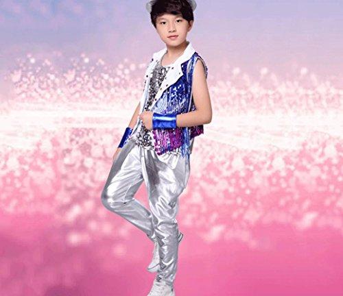 Kinder jazz dance kostüme moderne tanzkleidung jungen trommeln hip-hop-leistung kleidung , 140cm , blue3 (Tanz Kostüme Für Hip Hop Wettbewerb)