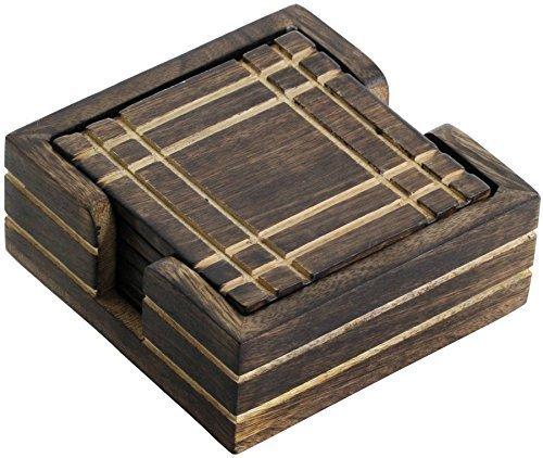 WINTER -Angebote-Woche – SouvNear Holz Untersetzer für Gläser – Handgefertigte Retro Holzuntersetzer mit 6 Quadrat Tisch Untersetzern und Halter aus Holz, Geschenk aus Indien