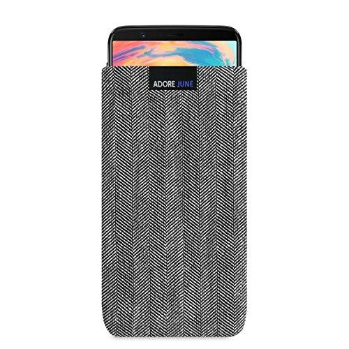 Adore June Business Tasche für OnePlus 5T und OnePlus 6 Handytasche aus charakteristischem Fischgrat Stoff - Grau/Schwarz | Schutztasche Zubehör mit Display Reinigungs-Effekt | Made in Europe